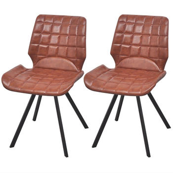 vidaXL Dining Chairs in Brown Fake Leather (2 Pieces)