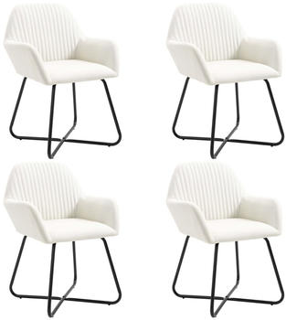 vidaXL Dining Chairs in Creme Fabric (4 Pieces)