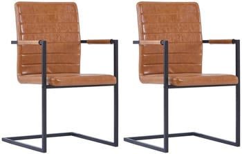 vidaXL Dining Chairs Cantilever Fake Leather Cognac (2 Pieces)