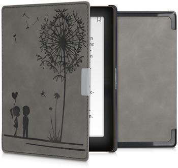 kwmobile Kunstleder eReader Schutzhülle Cover Case für Kobo Aura Edition 1 - - Pusteblume Love Design Grau