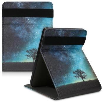 kwmobile Hülle für Tolino Page 2 - Schlaufe Ständer - e-Reader Schutzhülle - Flip Cover Case - Galaxie Baum Wiese Design