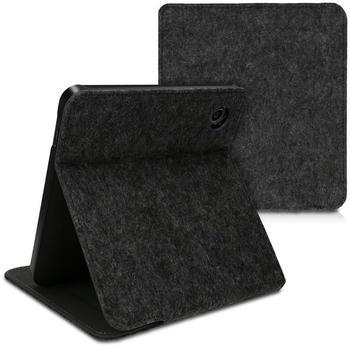 kwmobile Hülle für Tolino Vision 5 - Schlaufe Ständer - e-Reader Schutzhülle - Flip Cover Case - Filz Design, dunkelgrau