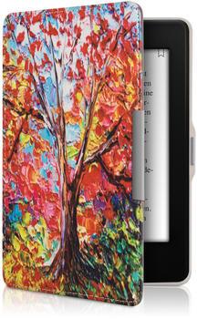 kwmobile Kunstleder eReader Schutzhülle Cover Case für Amazon Kindle Paperwhite (für Modelle bis 2017) - Herbstbaum Design Mehrfarbig Orange Rot