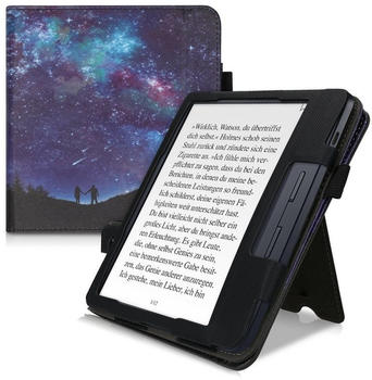 kwmobile Flip Schutzhülle für Kobo Libra H2O - Handschlaufe - Cover Sternenhimmel Paar Design