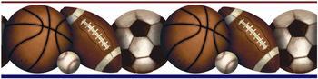 RoomMates Wandaufkleber Bordüre Ball Sport Champions