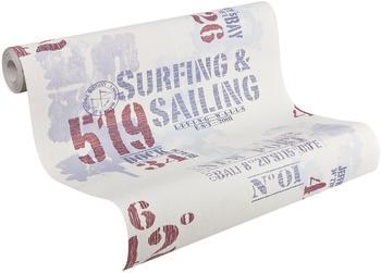 Livingwalls Surfing & Sailig New Port maritim blau rot weiss 10,05mx0,53m (927019)