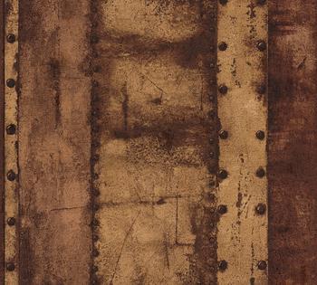 Livingwalls Industrial - Metall-Effekte, in Vintage Optik, orange-braun (35010235)