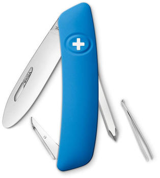 SWIZA Schweizer Messer Junior D02, Stahl 440, Klingensperre,, blaue Anti-Rutsch-Griffschalen, 6 Funktionen Taschenmesser, blau Einheitsgröße