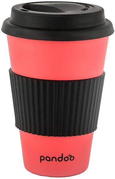 pandoo Bambus Coffee-to-Go-Becher 450 ml rot