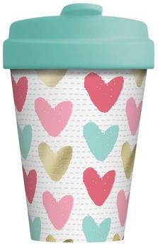 Chic.mic BambooCup Travel Mug 400 ml Happy Hearts Gold