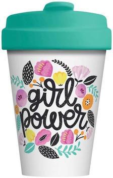 Chic.mic BambooCup Travel Mug 400 ml Girl Power weiß mit bunten Blumen