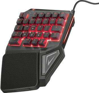 Trust Einhand-Gaming-Tastatur 888 ASSA Beleuchtet Schwarz, Multi-Color