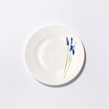 Dibbern Impression Teller 21 cm flach Blume Blau
