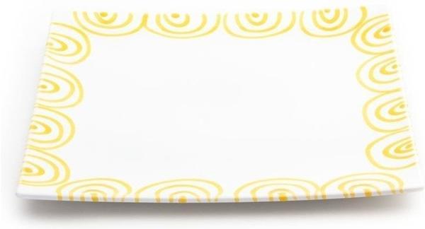 Gmundner Platzteller eckig 31 x 31 cm gelbgeflammt