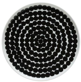 marimekko-raesymatto-teller-20-cm-schwarz-weiss-grosse-punkte