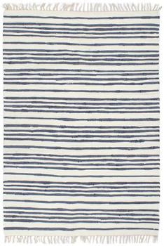 VidaXL Chindi Cotton Blue and White Transverse Stripes