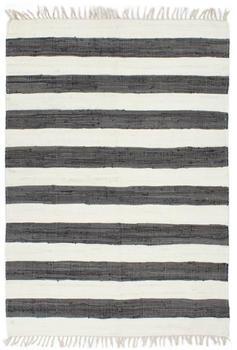 VidaXL Chindi Cotton Dark Grey and White Transverse Stripes 160 x 230 cm
