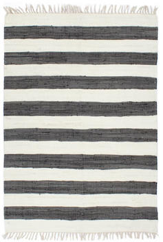 VidaXL Chindi Cotton Dark Grey and White Transverse Stripes 200 x 290 cm