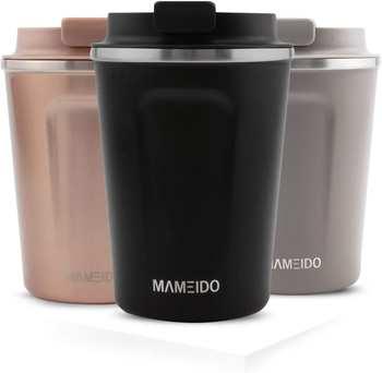 Mameido Thermobecher Edelstahl 470 ml Rich Black