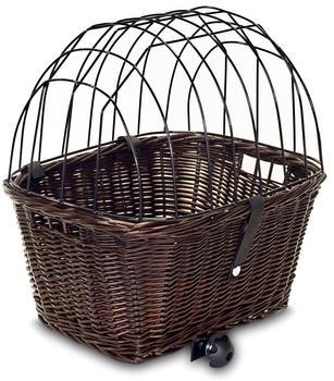 Tigana Hundefahrradkorb aus Weide für Gepäckträger eckig mit Gitter und Kissen 44x34cm braun