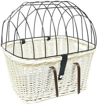 Tigana Fahrradkorb aus Weide für Lenker 45x34cm Hund Katze mit Gitter + Kissen weiß