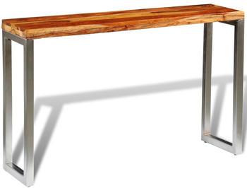 vidaXL Console Table Wood With Steel Feet