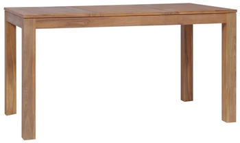 vidaXL Dining Table in Teak Wood and Natural Finish 140 x 70 x 76 cm