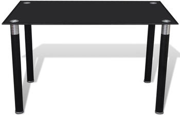 vidaXL Dining Table With Glass Top Black