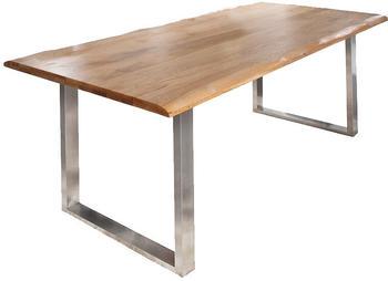 SIT Esstisch mit Baumkante 140x80x76cm Wildeiche antiksilber (07107-25)