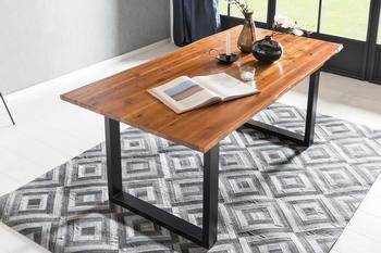 SalesFever Tisch mit Baumkante 140x80cm cognac schwarz