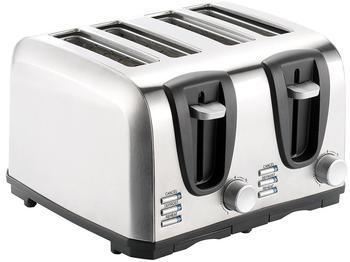 Rosenstein & Söhne Edelstahl-Toaster für 4 Scheiben, 1300 W