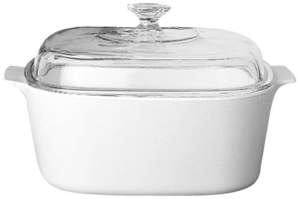 Corningware 5L Square Casserole with glass cover White