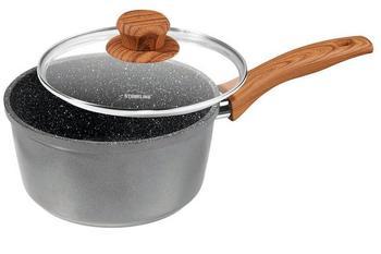 Stoneline Stielkasserolle mit Glasdeckel 18 cm schwarz