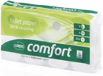 Satino Comfort Recycling Toilettenpapier 3-lagig weiß (8 Rollen)