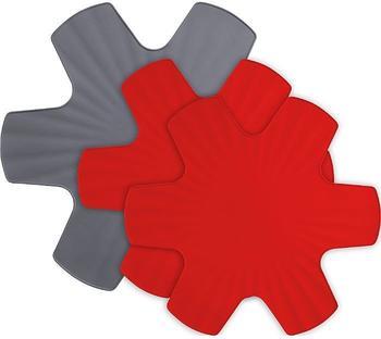 Woll Pfannenschutz grau/rot 40/35 cm 3er-Set