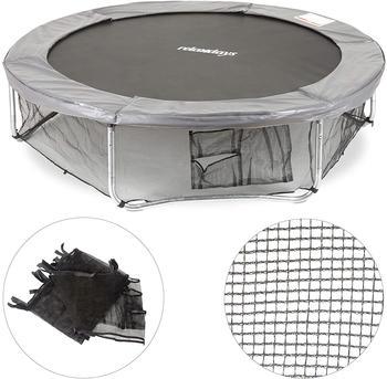 Relaxdays Rahmennetz für Gartentrampolin, mit 3 Aufbewahrungstaschen, Bodensicherungsnetz für Trampolin Ø 427cm, schwarz