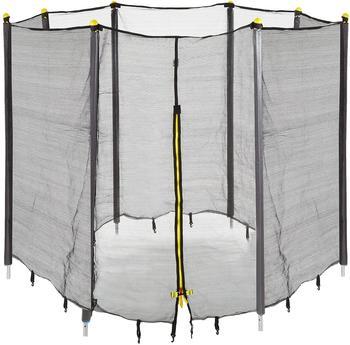 Relaxdays Unisex Jugend, schwarz Trampolin Netz, Fangnetz für Gartentrampolin, mit 6 gepolsterten Stangen, Sicherheitsnetz, Ø 183 cm