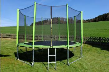 Stamm Sports Gartentrampolin, Ø 427 cm, Anti-Roll-Over-Schutz, farbig verkleidete Netzpfosten grün