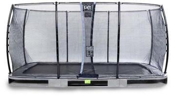 Exit Toys Trampolin Elegant Inground 244x427 cm mit Economy Sicherheitsnetz grau