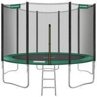 Songmics - Trampolin Ø 427 cm, rundes Gartentrampolin mit Sicherheitsnetz, mit Leiter und