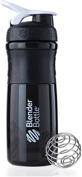 BlenderBottle Sportmixer 820ml schwarz-weiß transparent