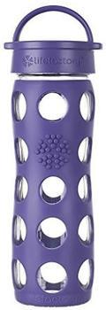 Lifefactory Glas-Trinkflasche mit Classic Cap Royal purple 0,47 l