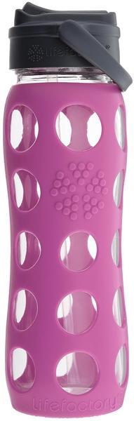 lifefactory Glas-Trinkflasche mit Straw Cap Huckleberry 0,65 l