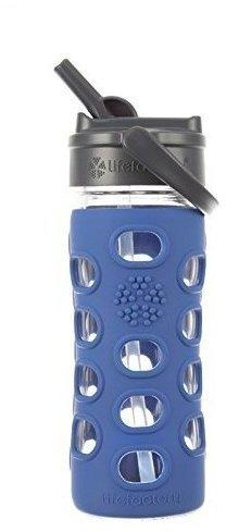 lifefactory Glass Bottle Straw Cap 0.35L Cobalt