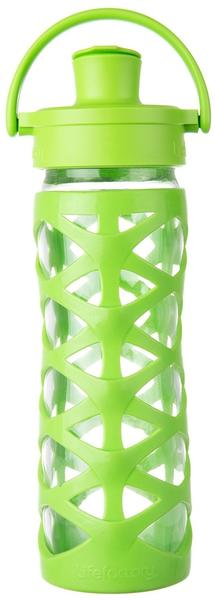 lifefactory 16351 Glas-Trinkflasche mit Active Flip Cap, lime, 475 ml
