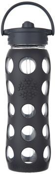 lifefactory Glass Bottle Straw Cap 0.65L Carbon