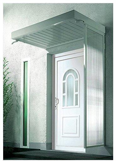 Gutta Seiteblende für Vordach B2 weiß Stegglas, hell (175 x 60 x 45 cm)
