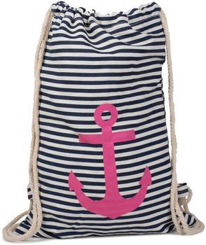 Stylebreaker Turnbeutel Rucksack im maritimen Design mit Streifen und Anker Print, Sportbeutel, Unis