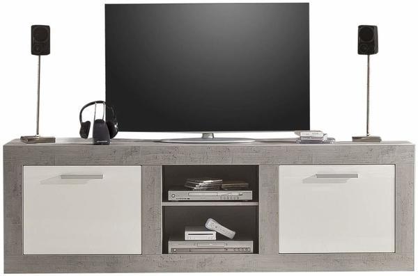 trendteam Pure TV-Lowboard 210 cm Beton-Optik/weiß Hochglanz