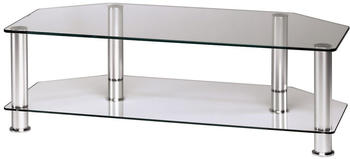 Hama LCD-/Plasma-TV-Rack, 1000 mm, zwei Ablagen, Alu/Klarglas (11722)